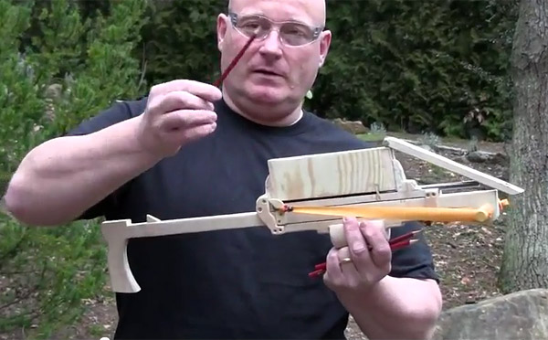 joerg sprave pump action pencil launcher Pumpputoiminen lyijykynänlaukaisin